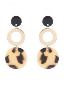 Womens Gold Tortoise Shell Drop Earrings