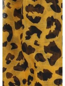Womens Mustard Animal Print Scarf