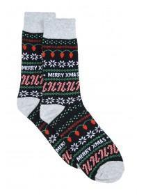 Mens 1pk Black Fairisle Christmas Socks