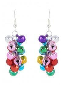 Womens Multicolour Jingle Bell Earrings