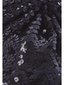 Womens Black Sequin Beret Hat