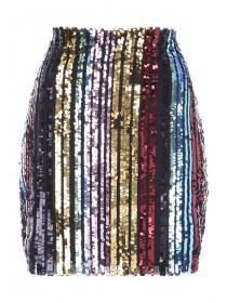 Womens ENVY Multicolour Sequin Stripe Skirt