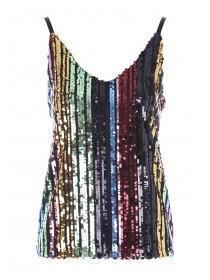 Womens ENVY Multicolour Sequin Stripe Cami Top
