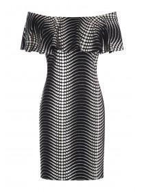 Womens ENVY Metallic Bardot Dress