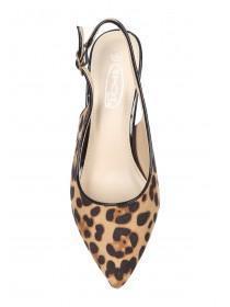 Womens Leopard Print Slingback Heels