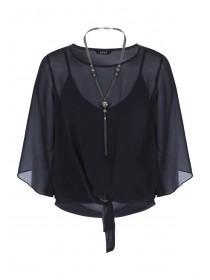 Womens ENVY Black Tie Front Top and Necklace