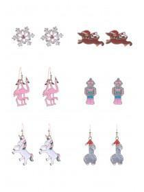 Novelty Christmas 6pk Earrings