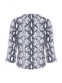 Womens Monochrome Snake Print Button Up Top