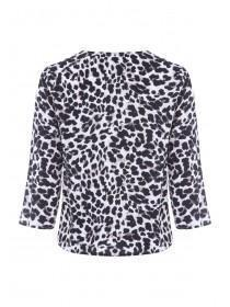 Womens Animal Print Button Up Top