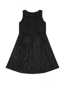 Older Girls Black Glitter Skater Dress