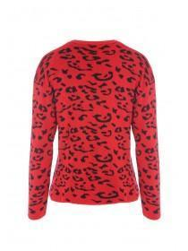 Womens Red Leopard Print Jumper