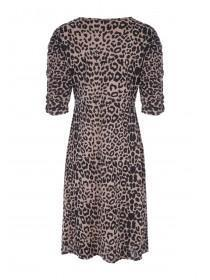 Womens Leopard Print Ruched Front Dress