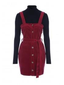 Womens ENVY Berry Cord Pinafore Dress