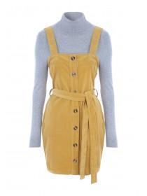 Womens ENVY Mustard Cord Pinafore Dress