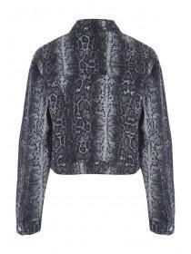 Womens Monochrome Snake Print Denim Jacket