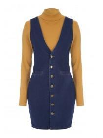 Womens ENVY Blue Denim Button Through Dress