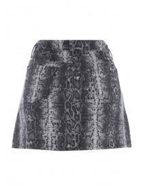 Womens Monochrome Snake Print Denim Mini Skirt