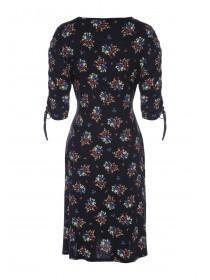 Womens Black Floral Ruched Front Dress