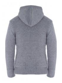 Mens Grey Knitted Hoody