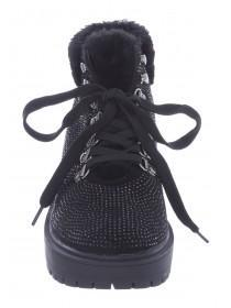 Womens Black Diamante Hiker Boots