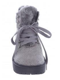 Womens Grey Diamante Hiker Boots