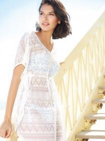 Womens White Lace Kaftan