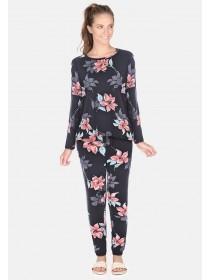 5ec11c1747c3 Womens Black Floral Soft Pyjama Bottoms Womens Black Floral Soft Pyjama  Bottoms
