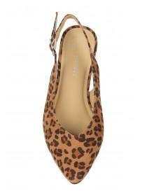 3aad57fe3207 ... Womens Wide Fit Leopard Print Slingback Flat Shoes