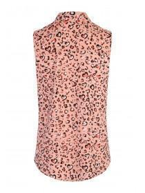 b88559efc5ae60 Womens Pink Leopard Sleeveless Blouse Womens Pink Leopard Sleeveless Blouse