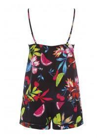 f4524442c9 ... Womens Black Tropical Top and Short Pyjama Set