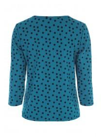 Womens Teal Spot Tie Front Top