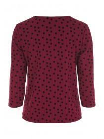 Womens Burgundy Spot Tie Front Top