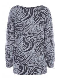 Womens Grey Animal Print Cosy Top