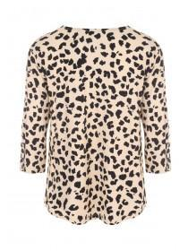 Womens Animal Print Roll Sleeve Top