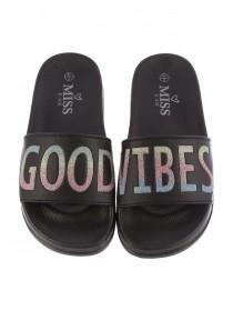 847ab2b9dc84 Older Girls Black Slogan Slider Sandals Older Girls Black Slogan Slider  Sandals