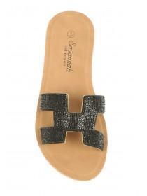 e2b035208869c6 Womens Black Diamante Mule Sandals Womens Black Diamante Mule Sandals ...