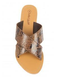 58428828a5e05f ... Womens Brown Snake Leather Cross Over Sandals ...