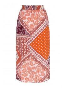 fd05a233cf Womens Orange Scarf Print Split Skirt Womens Orange Scarf Print Split Skirt