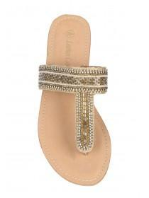 110f4332a6ef Womens Gold Beaded Leather Toepost Sandals Womens Gold Beaded Leather  Toepost Sandals ...