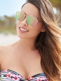Womens Rainbow Lens Aviator Sunglasses