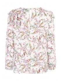 Womens Ruffle Front Floral Top