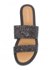 Womens Black Two-Band Mule Sandals