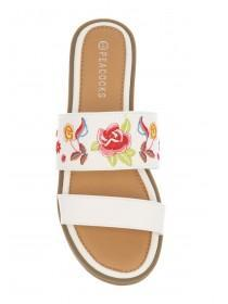 Womens White Two-Band Mule Sandals
