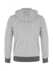 Mens Grey Zip Thru Contrast Hoody