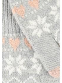 Womens Grey Patterned Gloves