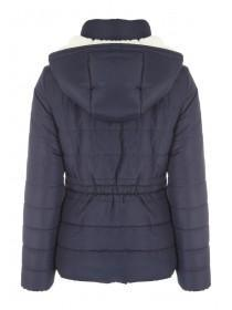 Womens Blue Quilted Sherpa Jacket