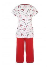 Womens Short Sleeve Penguin Print Pyjamas