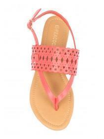 Womens Pink Laser Toe Thong Sandals