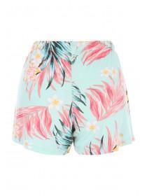Womens Aqua Floral Viscose Pyjama Shorts