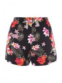 Womens Black Floral Viscose Pyjama Shorts
